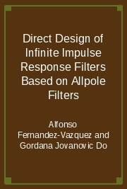 Direct Design of Infinite Impulse Response Filters Based on Allpole Filters