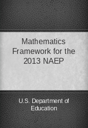 Mathematics Framework for the 2013 NAEP